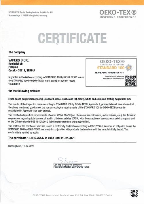 OEKO TEX Certificate 2021